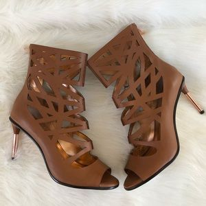 BCBGENERATION brown cut out ankle bootie heels